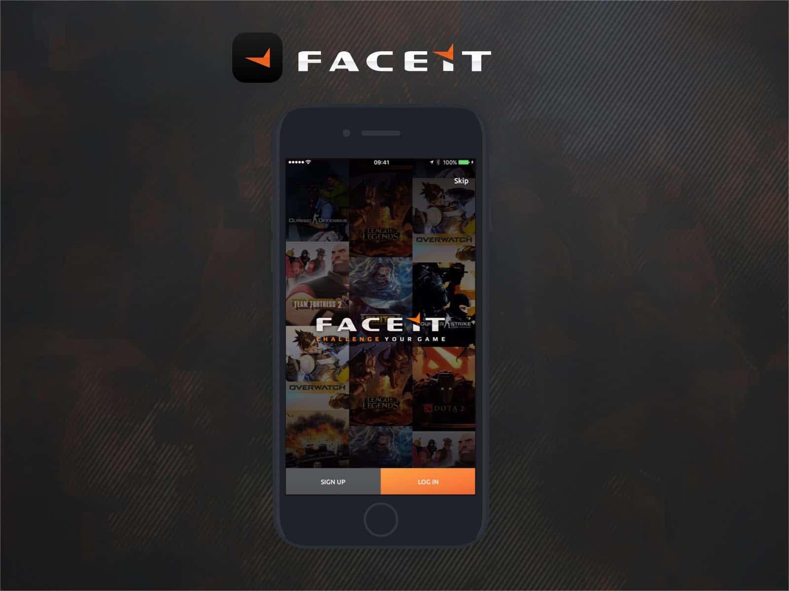 faceit app ux design intro screen