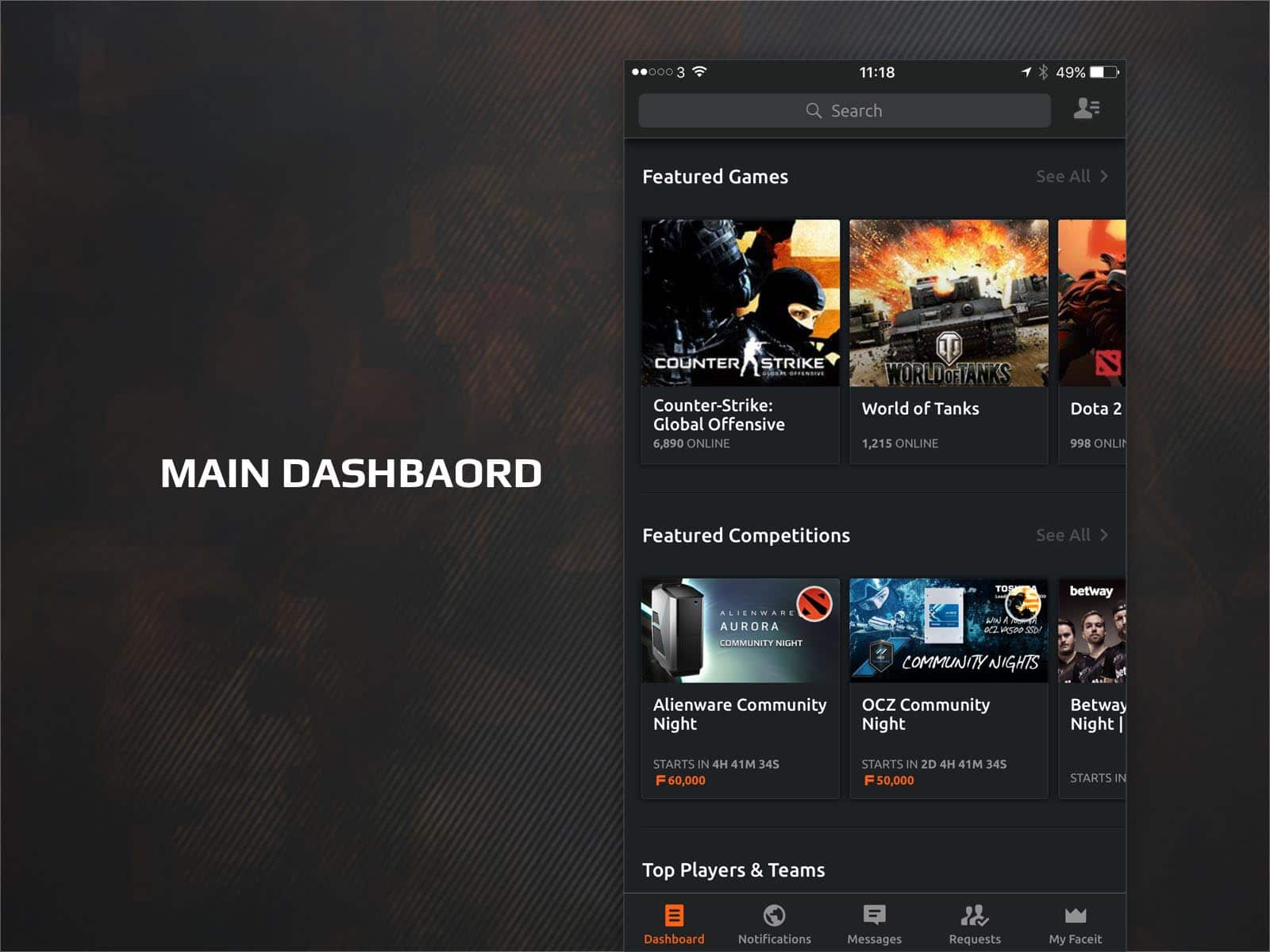 faceit app main dashboard ui design