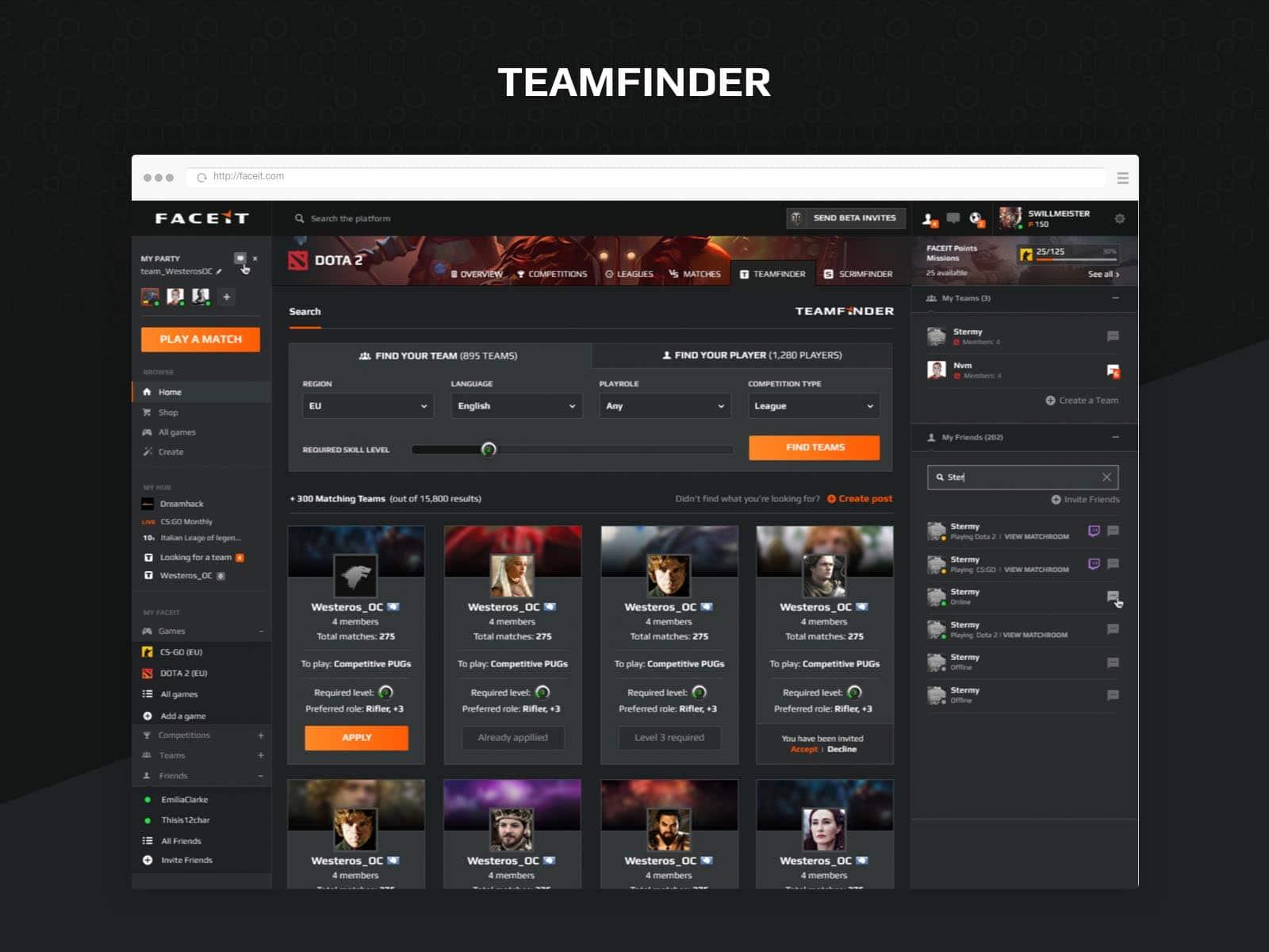 faceit teamfinder ux design esports