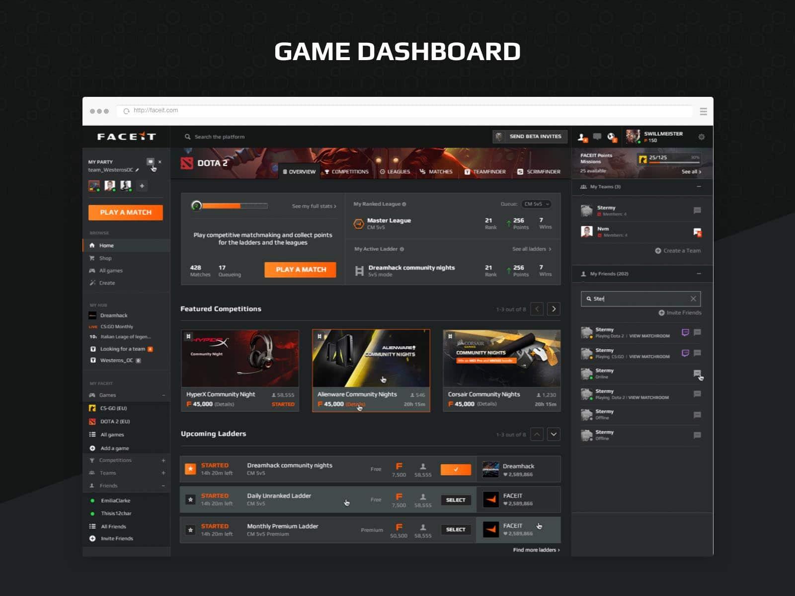 faceit game dashboard ux design