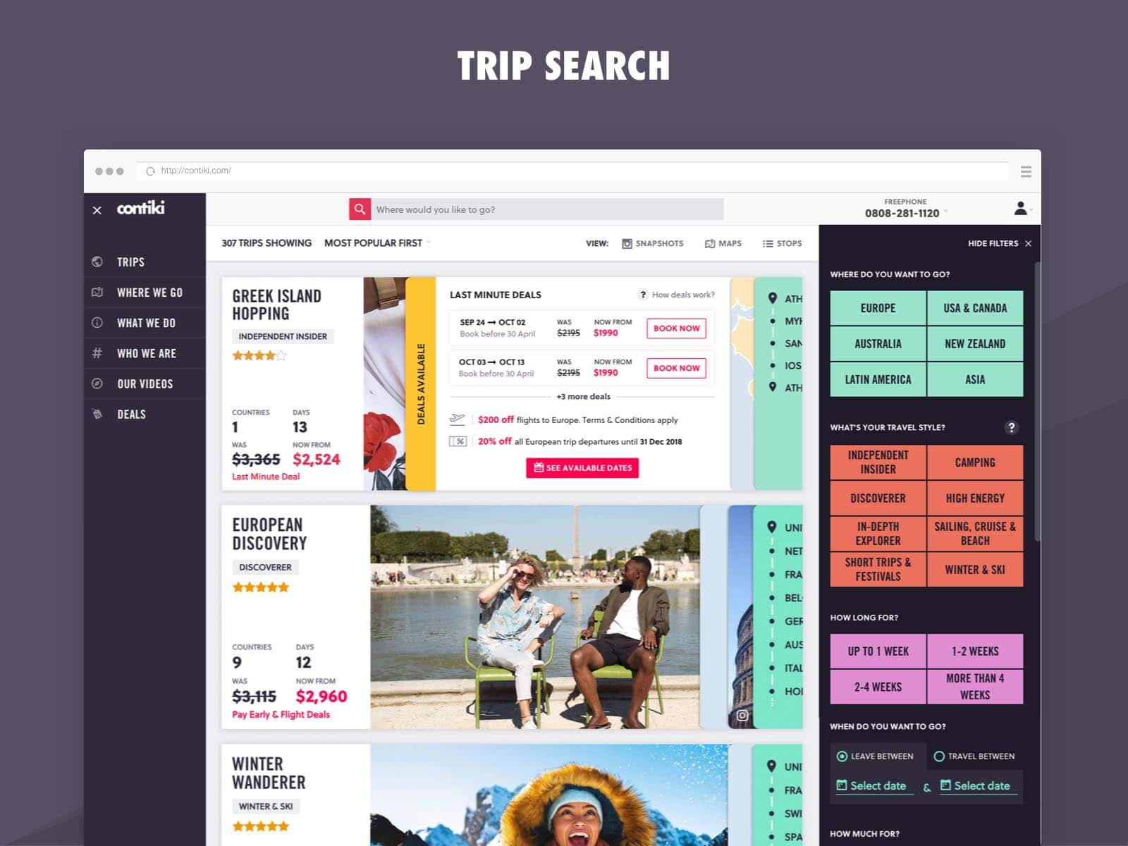 contiki trip search