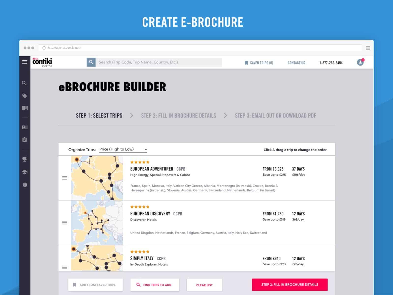 contiki agents ebrochure builder ux design