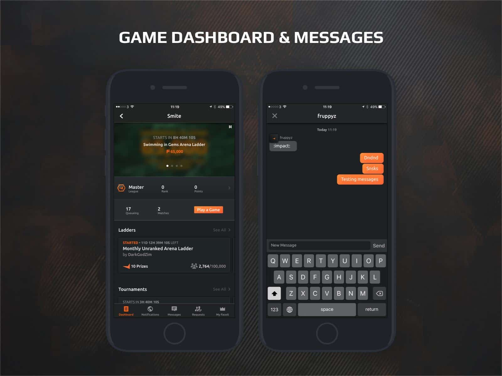 faceit app game dashboard and messages