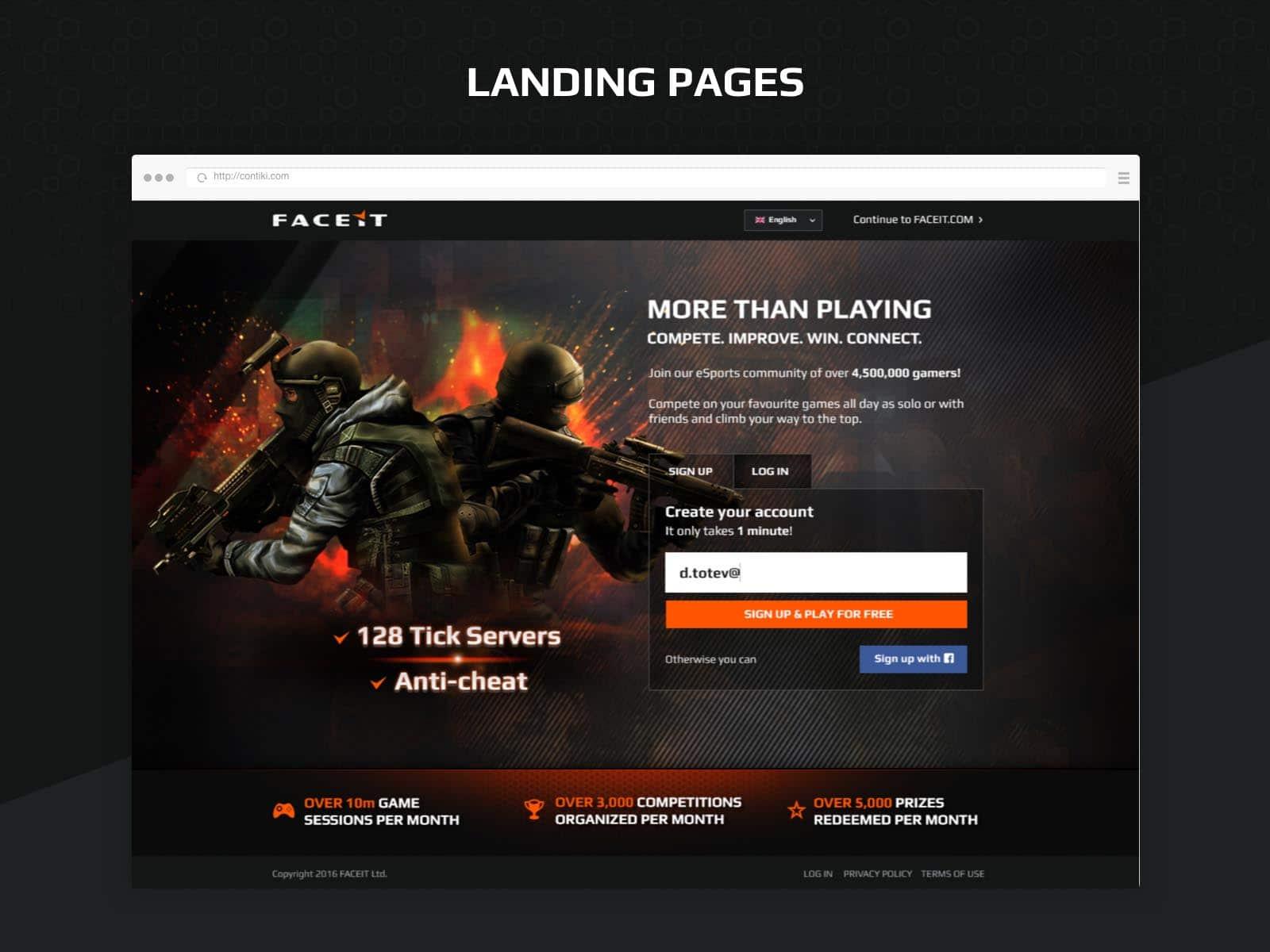 faceit landing pages design