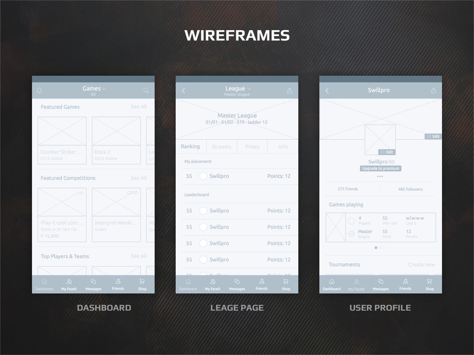 faceit app wireframes layout design