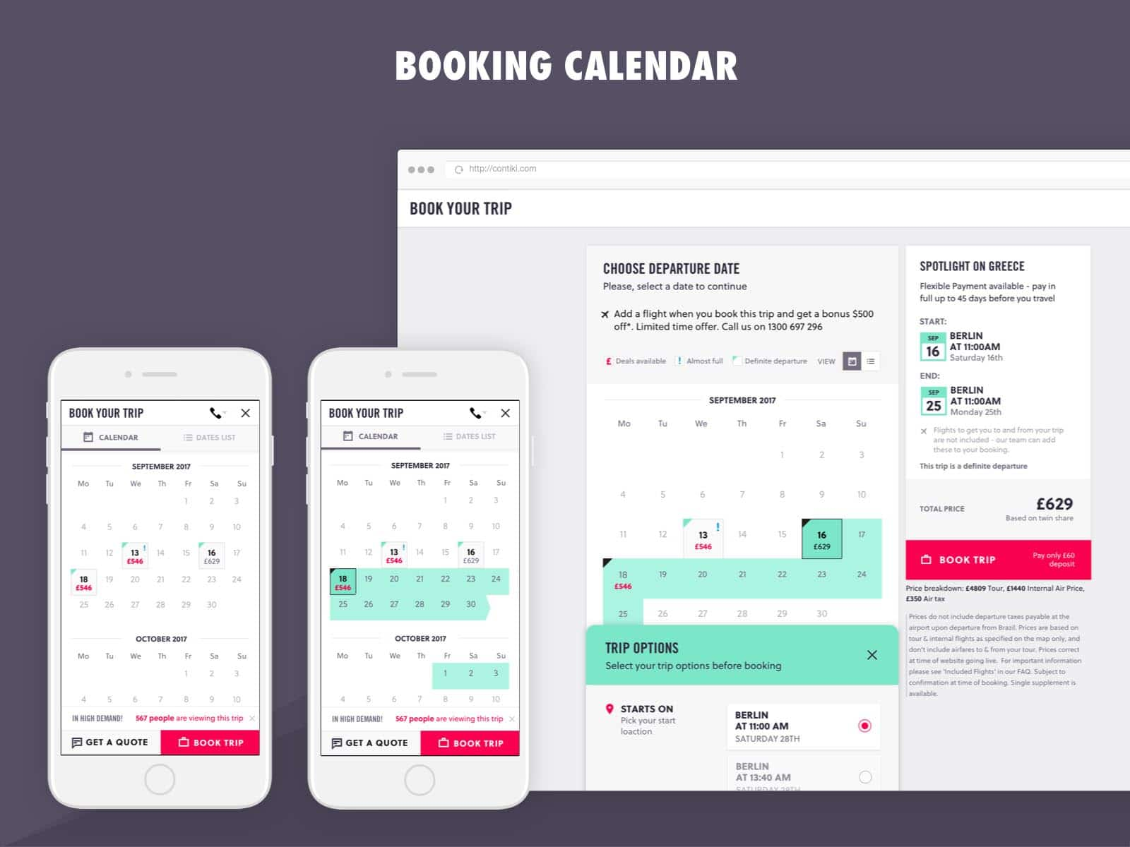 contiki booking calendar ux design