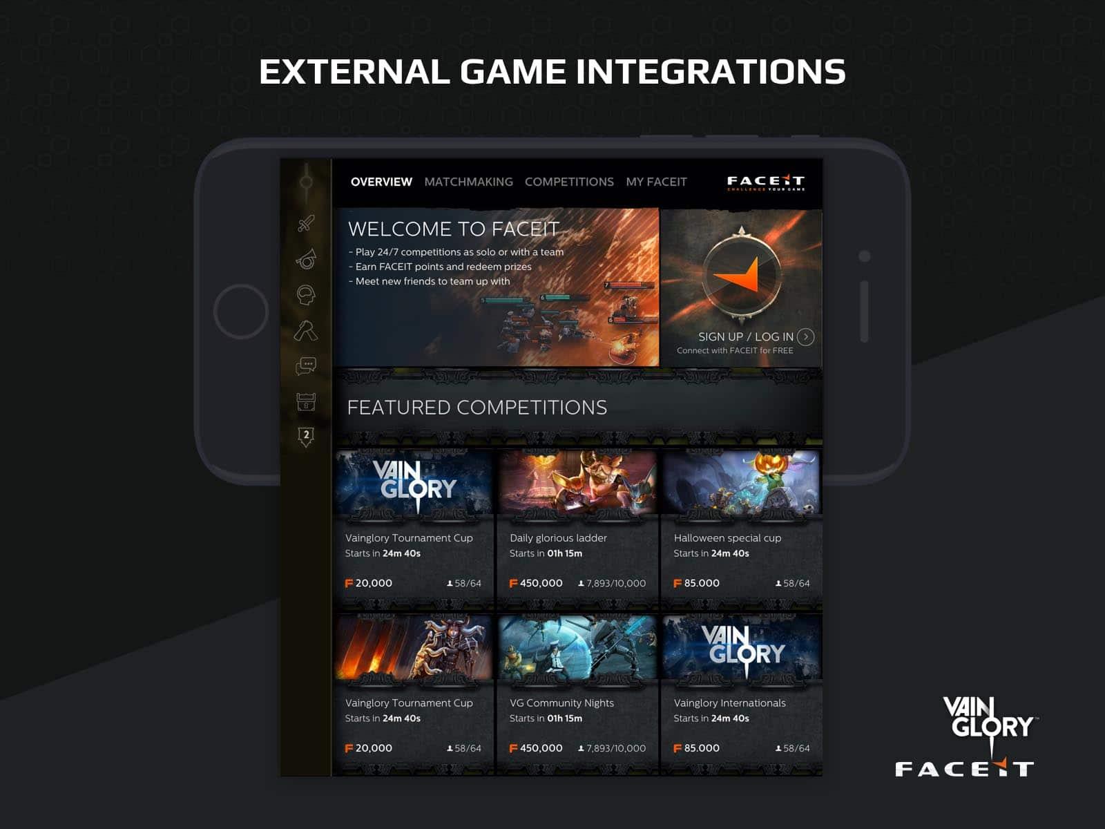 faceit game integrations ui design