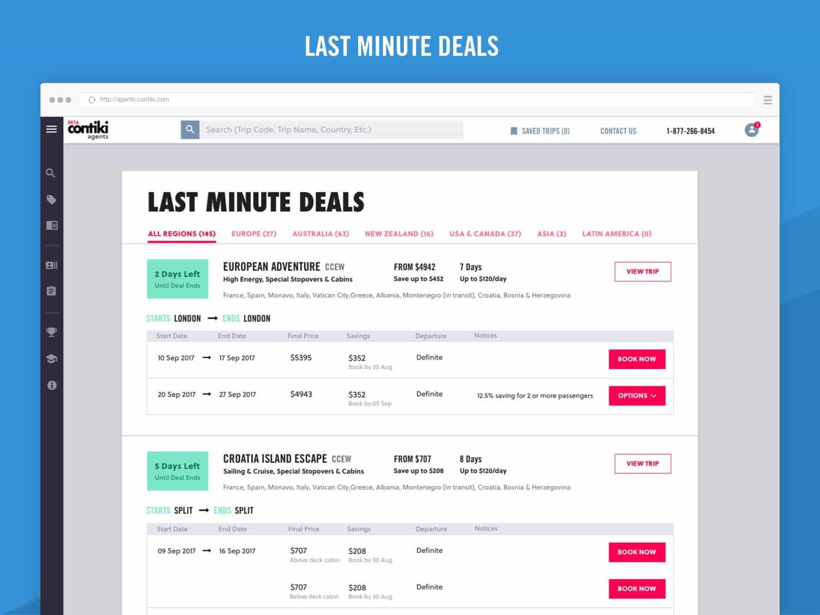 contiki agents last minute deals ux design