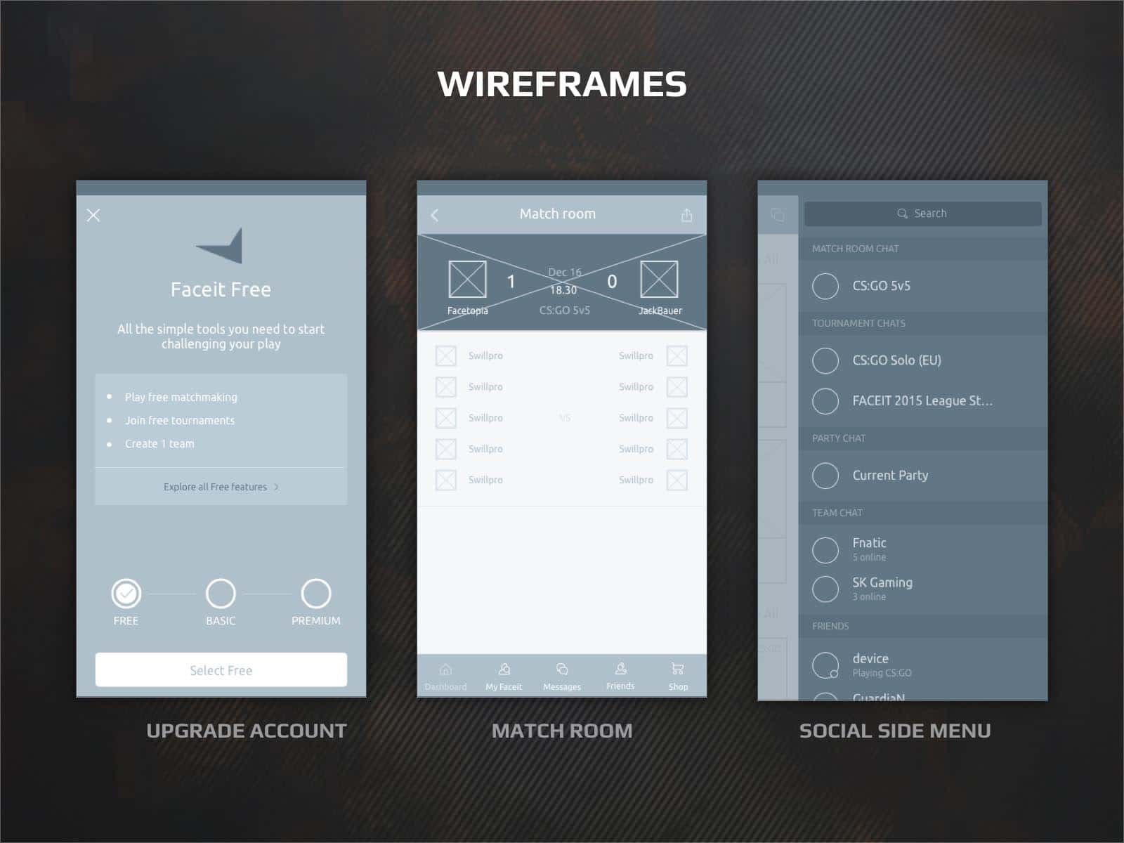 faceit app wireframes ux design and interactions
