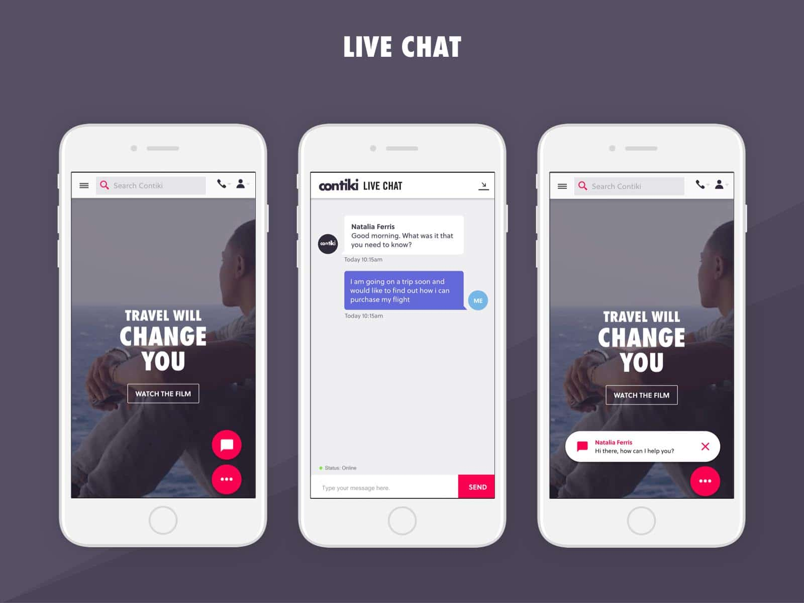 contiki live chat ux design