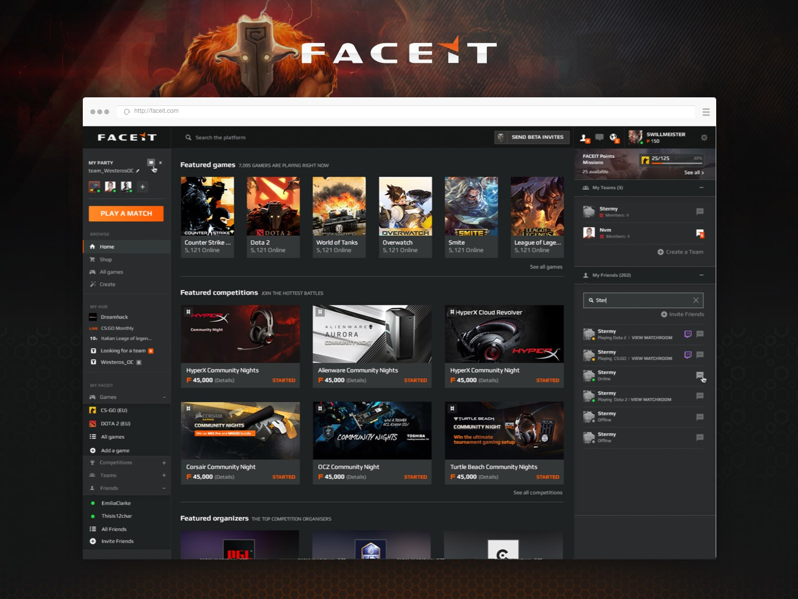 faceit web platform for competitive gaming