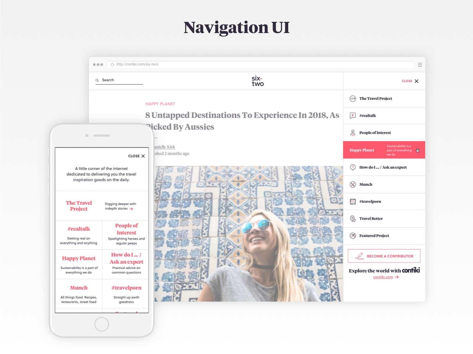 six-two navigation UI design