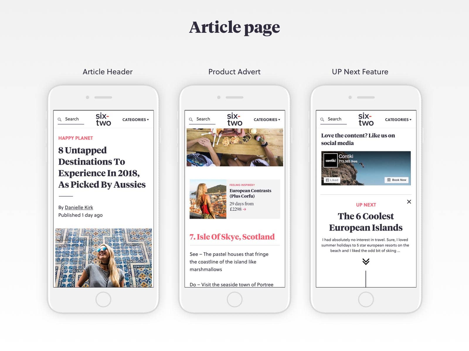 six-two article pages ux design