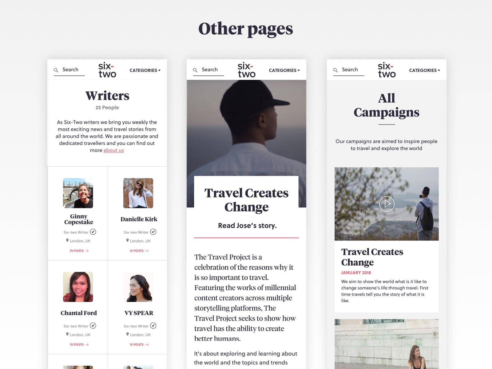 six-two other pages responsive ux design