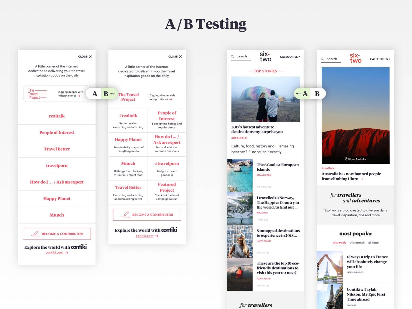 six-two a-b testing of ux design pages