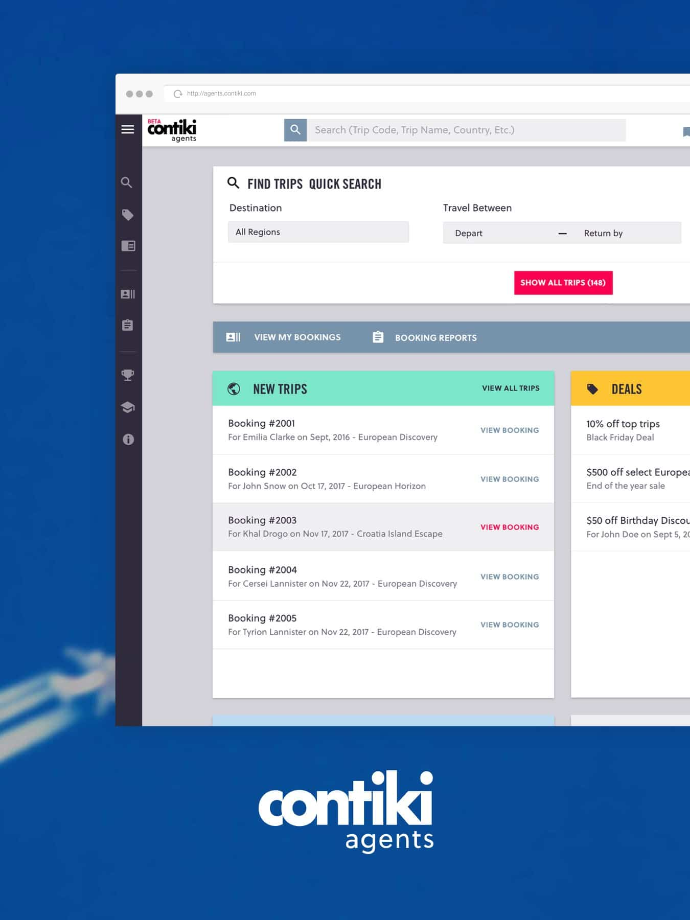 contiki agnets travel booking platform