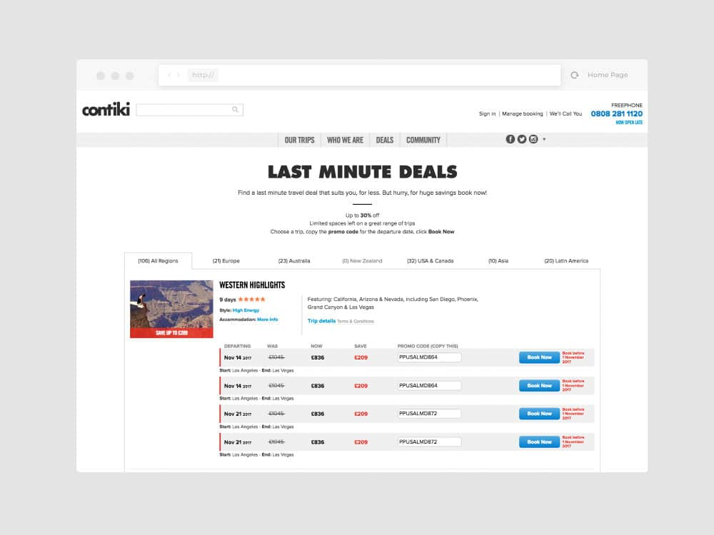 contiki old last minute deals page