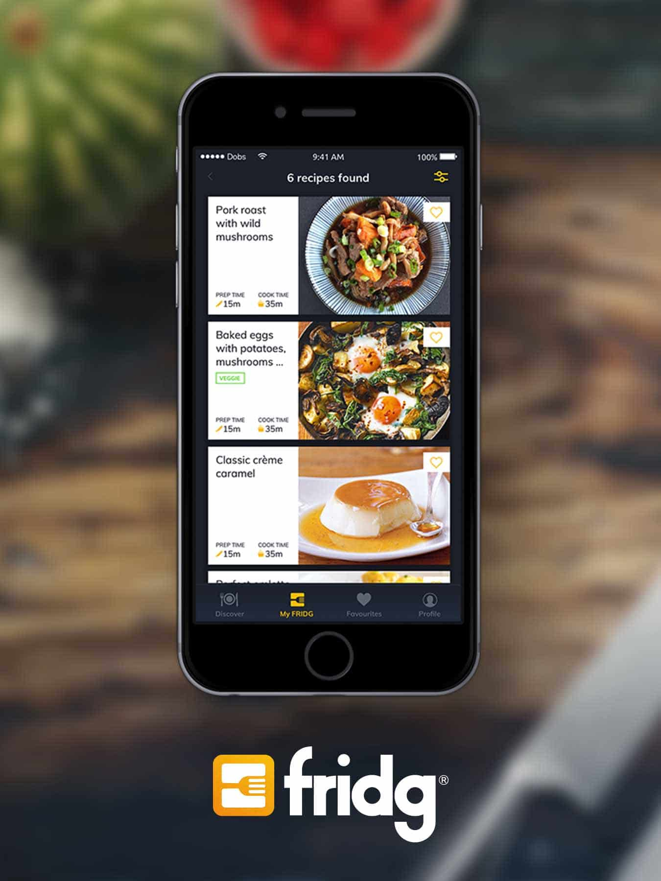 fridgapp all recipes screen ui
